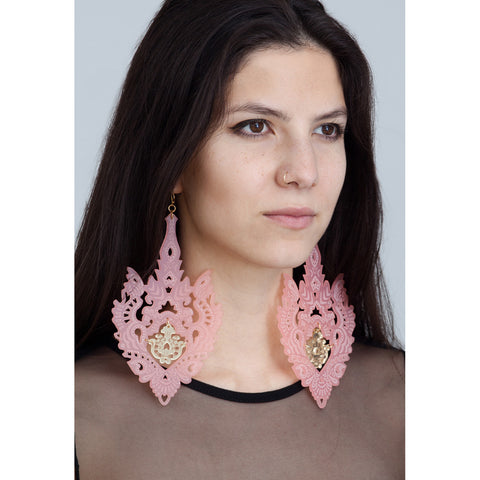Empress Earrings - Frosted Pink