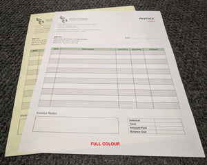 "Carbonless NCR Forms 2-Part 4.25""x5.5"" Front Side Full Colour"
