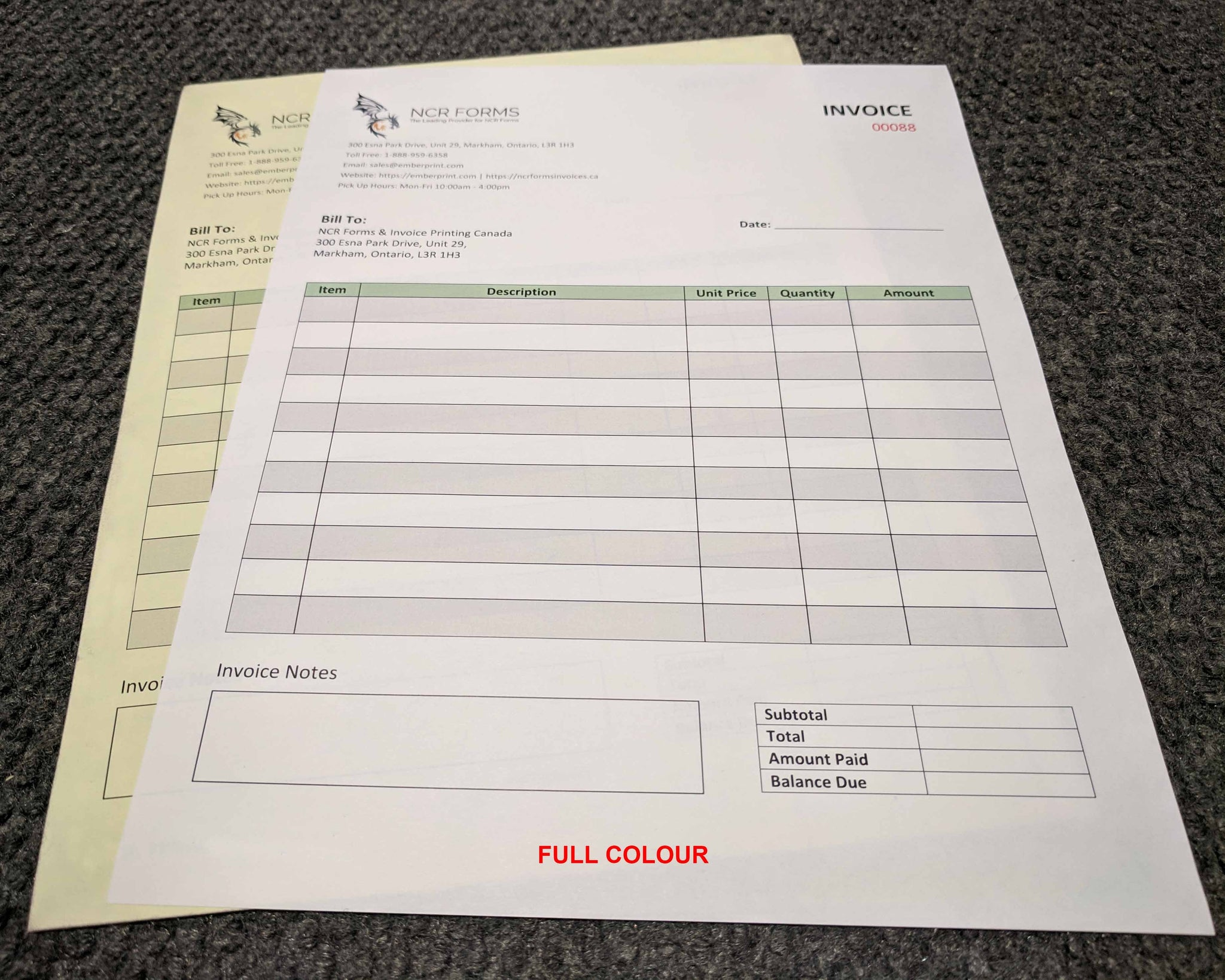 "Carbonless NCR Forms 2-Part 4.25""x14"" Front Side Full Colour"