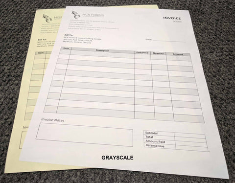 "Carbonless NCR Forms 2-Part 5.5""x8.5"" Front Side Grayscale"
