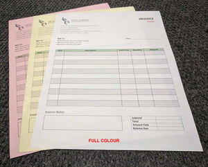"Carbonless NCR Forms 3-Part 8.5""x7"" Front Side Full Colour"