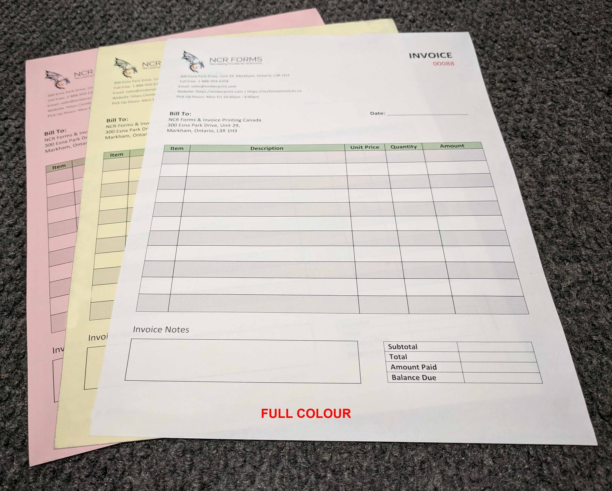 "Carbonless NCR Forms 3-Part 4.25""x5.5"" Front Side Full Colour"
