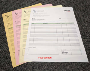 "Carbonless NCR Forms 4-Part 4.25""x7"" Both Sides Full Colour"