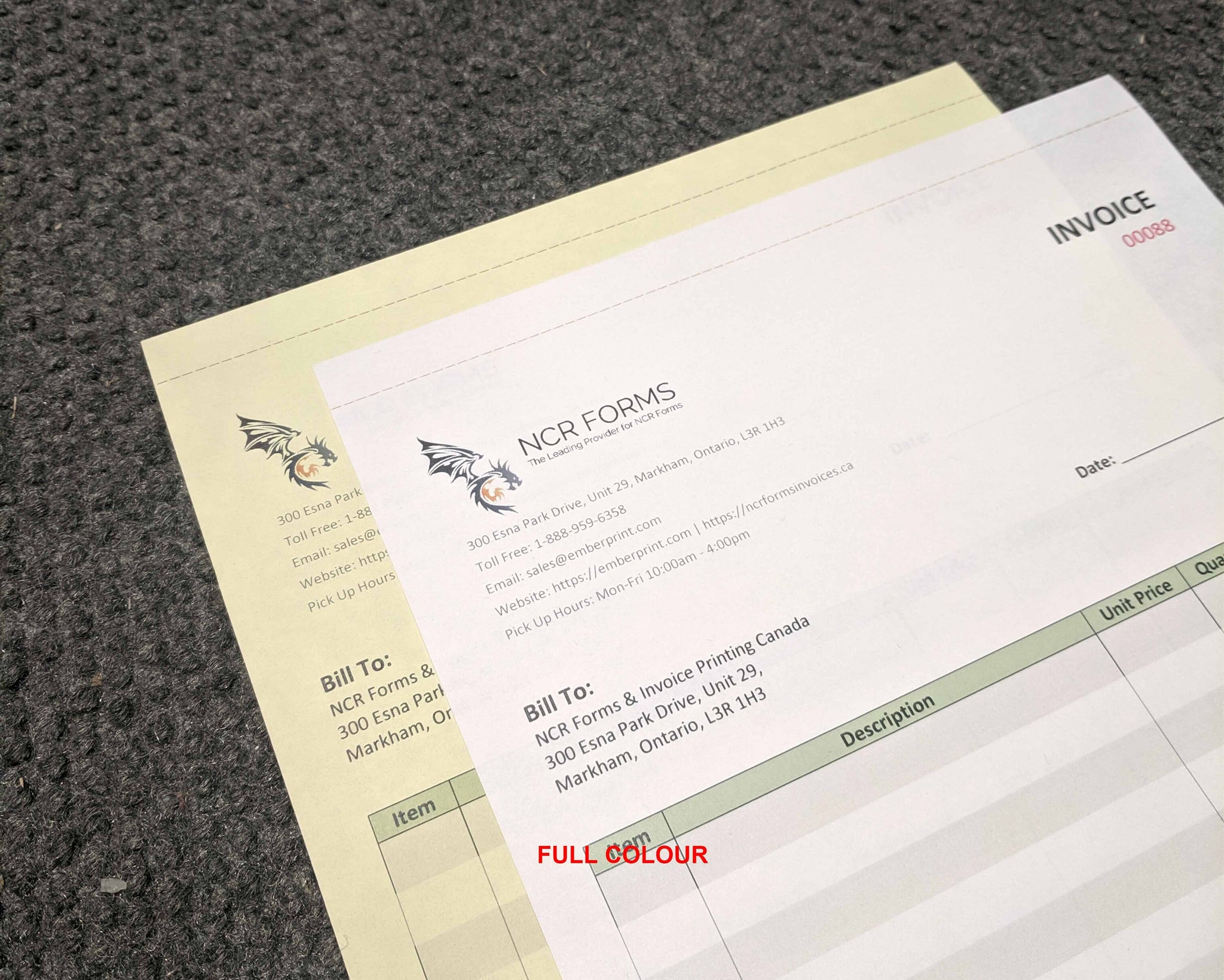 "Perforated Carbonless NCR Forms 2-Part 3.65""x5.5"" Front Side Full Colour"