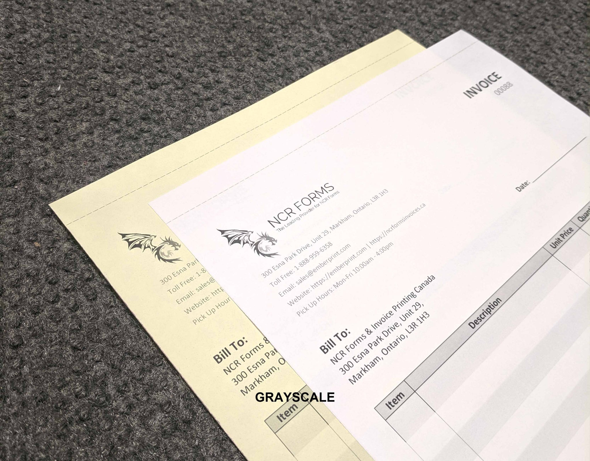 "Perforated Carbonless NCR Forms 2-Part 4.25""x7"" Front Side Grayscale"
