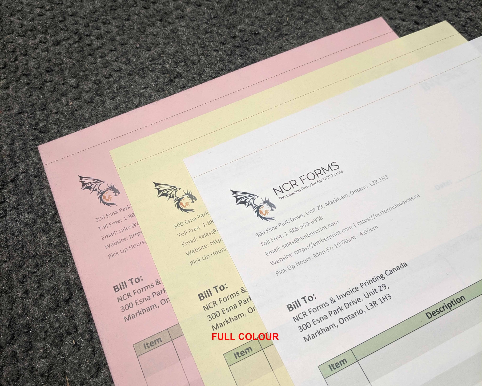 "Perforated Carbonless NCR Forms 3-Part 4.25""x7"" Front Side Full Colour"