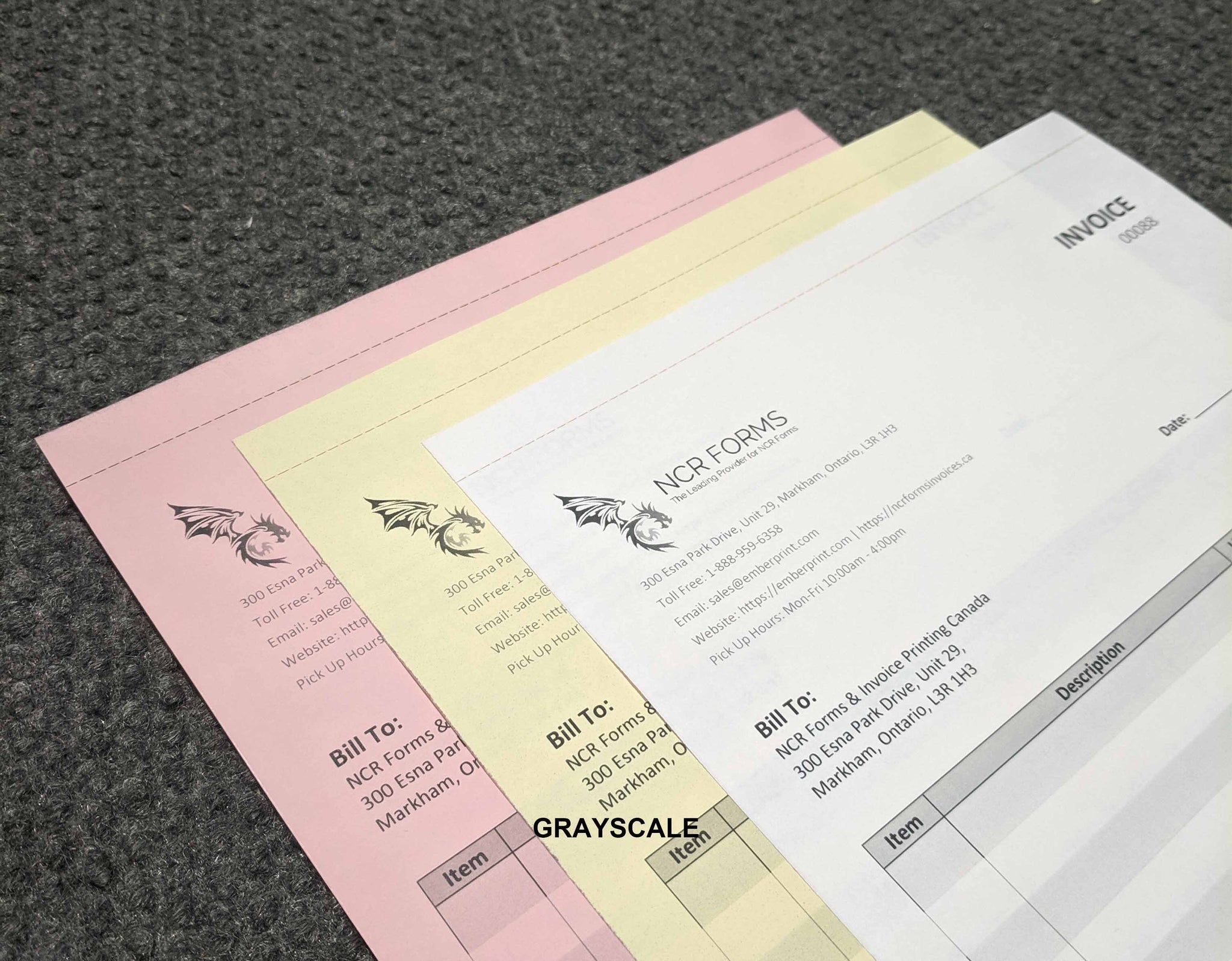 "Perforated Carbonless NCR Forms 3-Part 5.5""x7"" Front Side Grayscale"