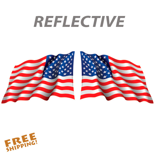 "REFLECTIVE U.S. FLAG WAVING PAIR 3"", 6"" or 9"" Vinyl Stickers"