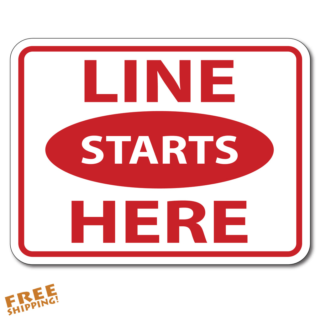 "LINE STARTS HERE CORONAVIRUS 8"" Round Rectangle Floor Sticker"
