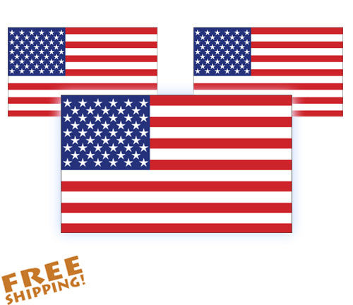"U.S. FLAG 5"" or 10"" - 3 pack Vinyl Sticker"