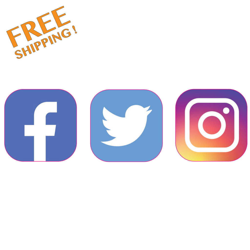 "SOCIAL MEDIA 4"" 6"" or 12"" - 1 Set Vinyl Stickers Business"