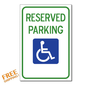 "RESERVED PARKING HANDICAPPED 18""x12"" Aluminum Sign Business"