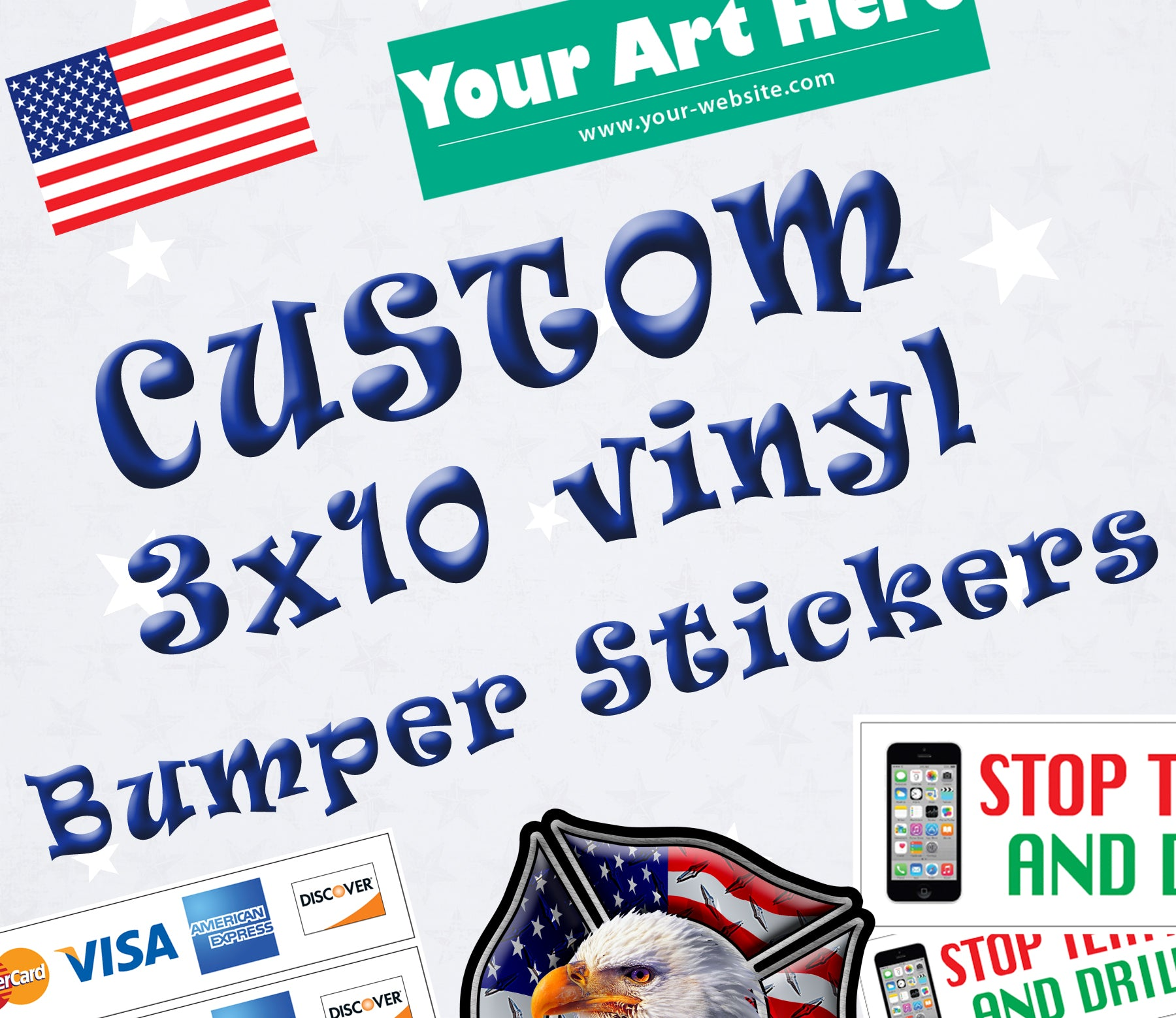 "CUSTOM BUMPER STICKERS 10"" Vinyl Stickers Business Novelty"