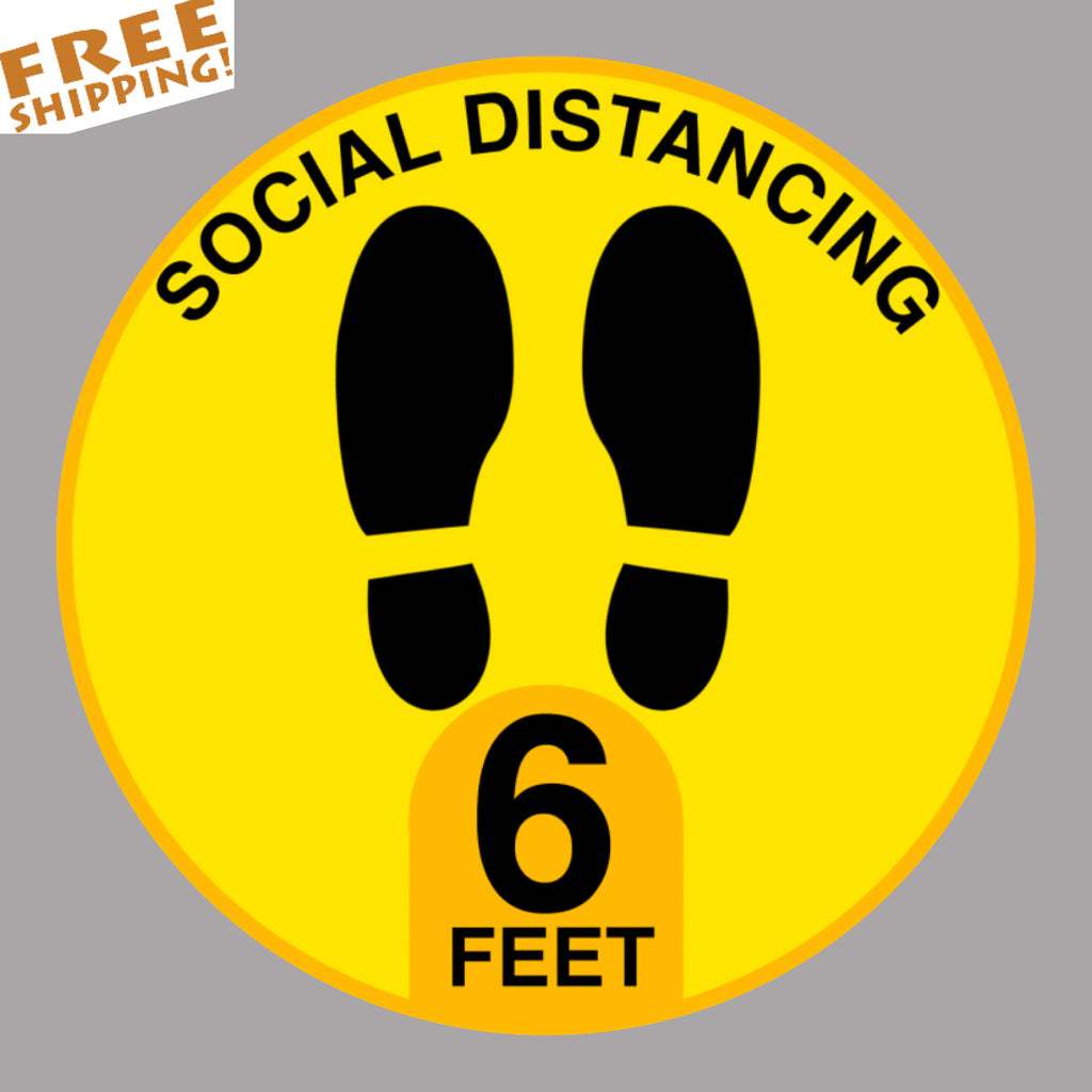 "SOCIAL DISTANCE Yellow STOP CORONAVIRUS 5"" or 12"" Circle Floor Stickers Business"