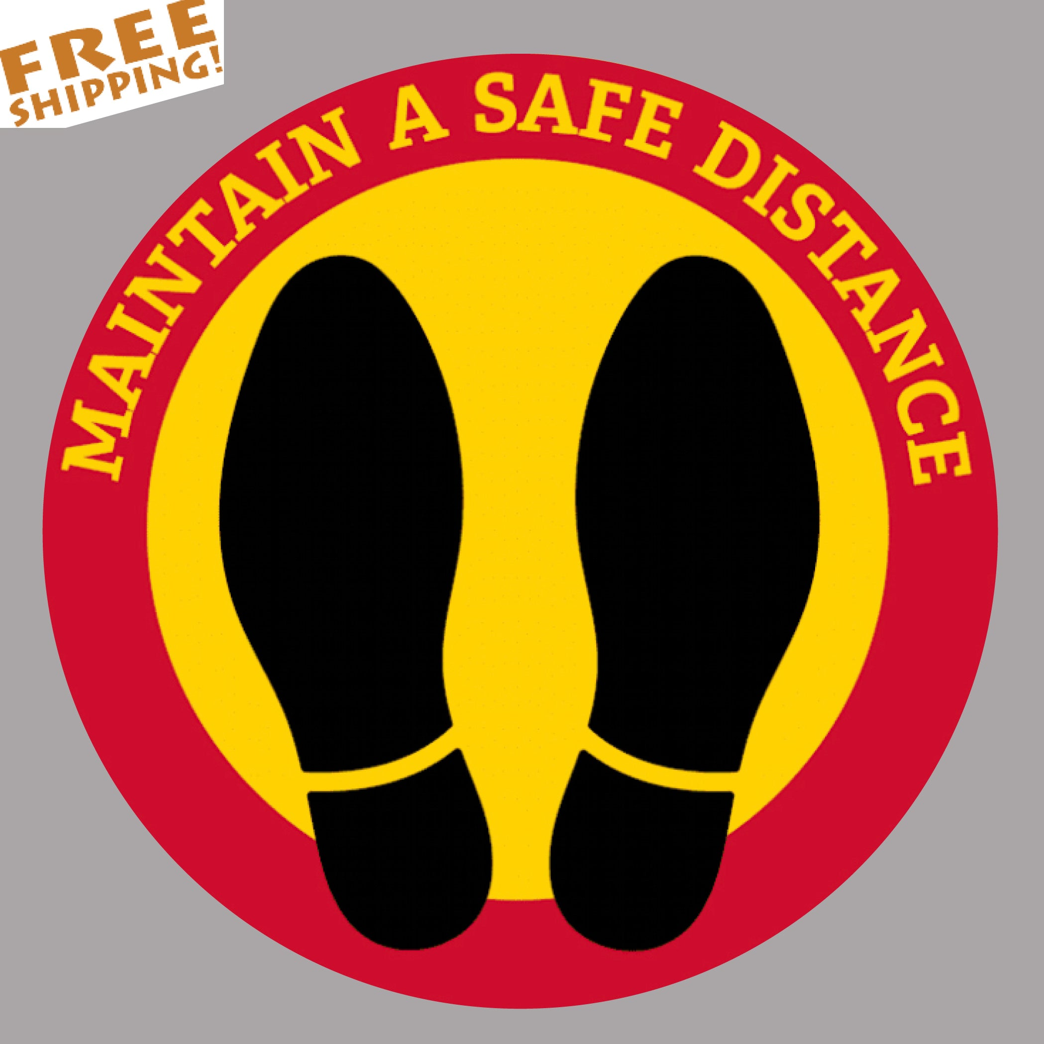 "SOCIAL DISTANCE Red-Yellow STOP CORONAVIRUS 5"" or 12"" Circle Floor Stickers Business"