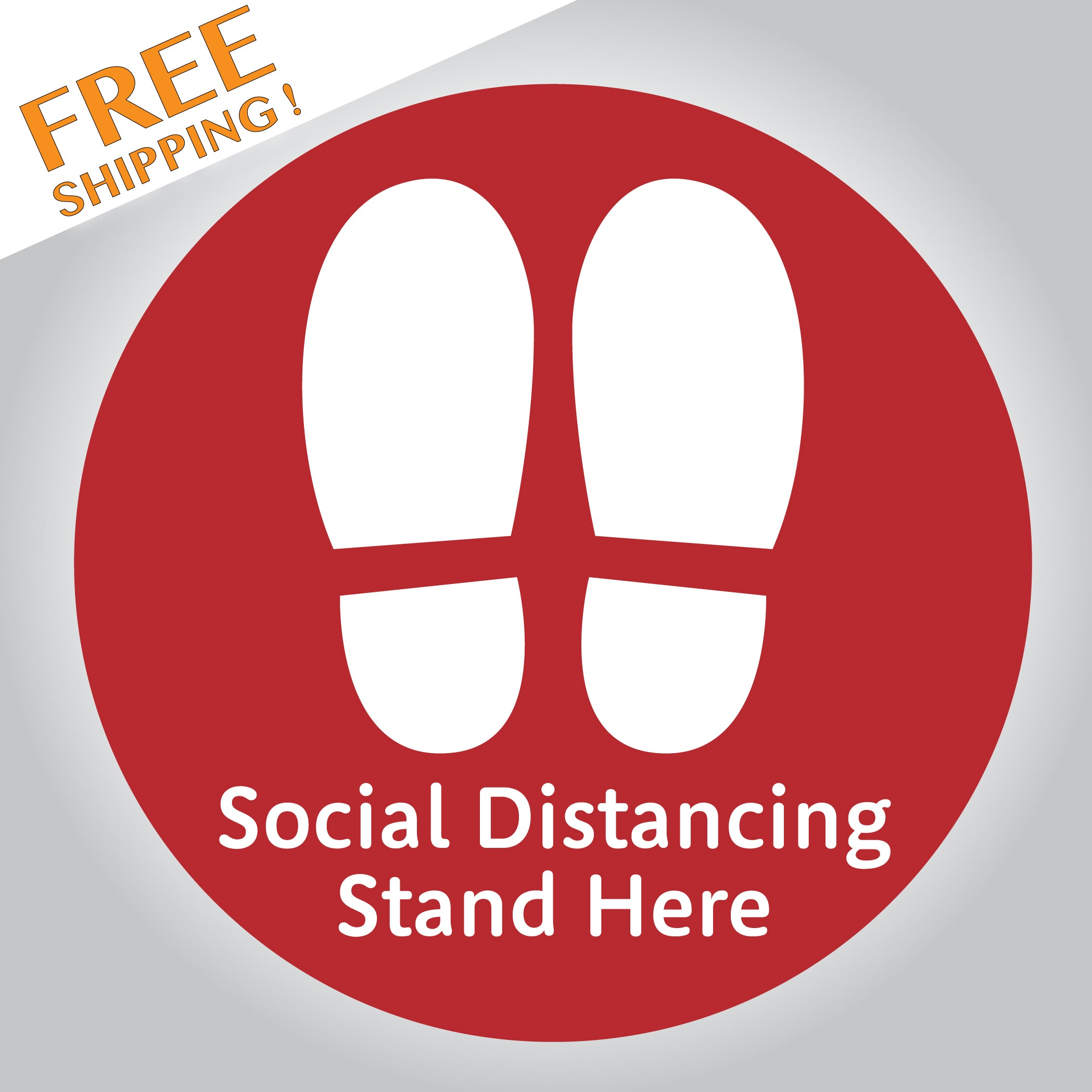 "SOCIAL DISTANCE Red STOP CORONAVIRUS 5"" or 12"" Circle Floor Stickers Business"