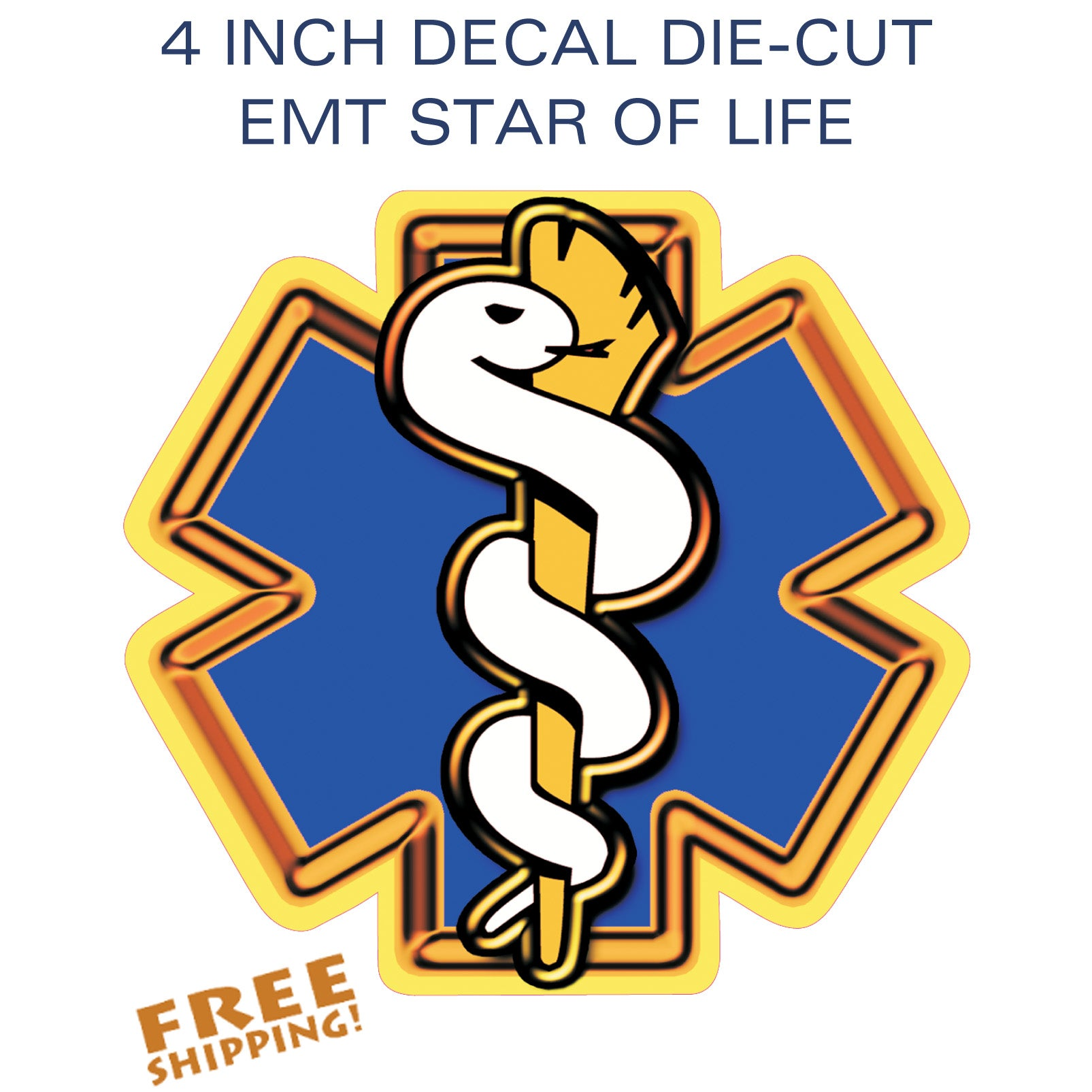 "STAR OF LIFE 4"" Vinyl Sticker EMS EMT"