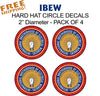 "IBEW UNION CIRCLE 2"" - 4 Pack Vinyl Stickers HARDHAT Business"
