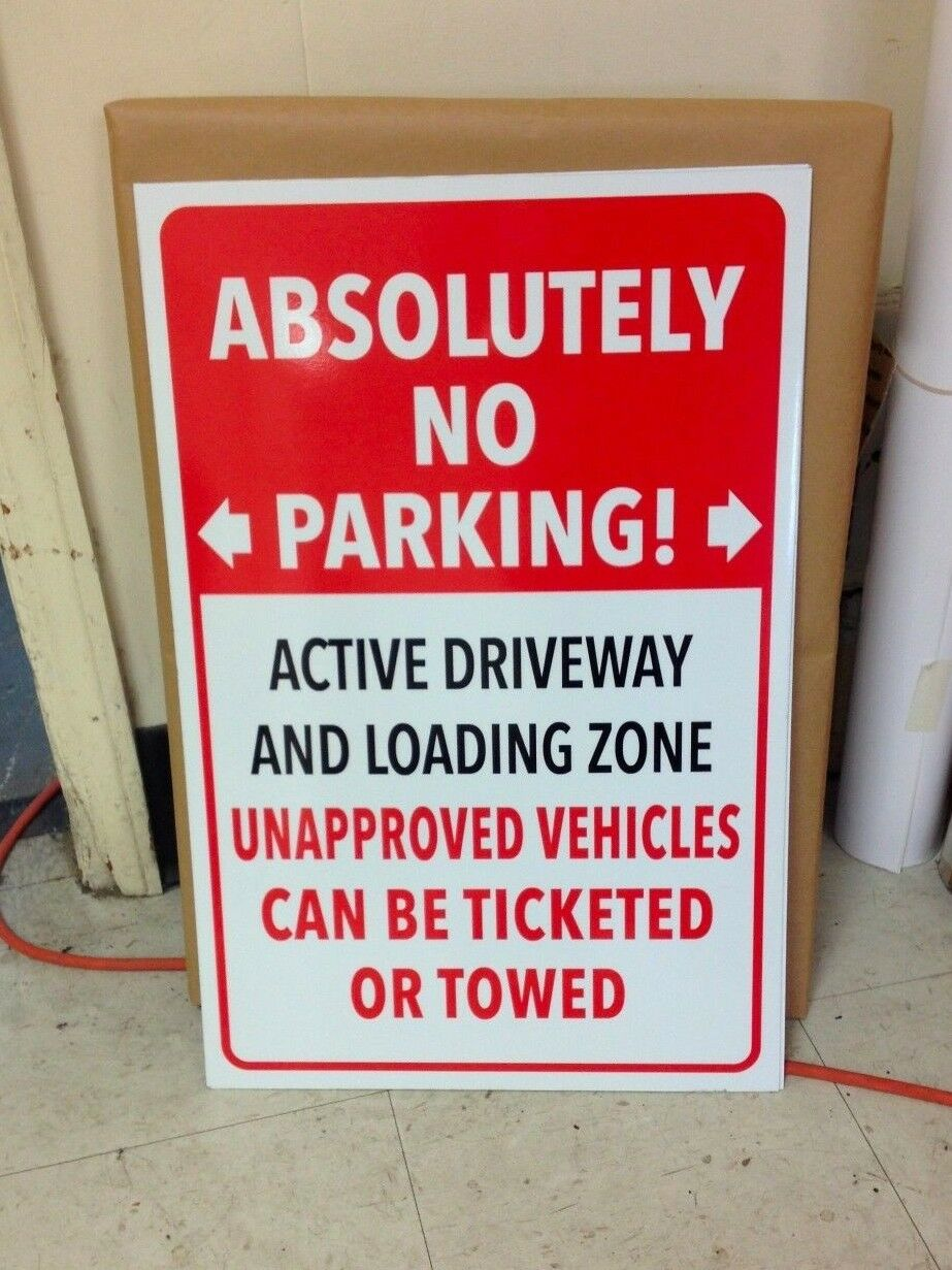 "ABSOLUTELY NO PARKING 18""x12"" Aluminum Sign PRIVATE PROPERTY"