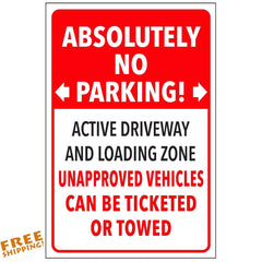"12""X18"" ABSOLUTELY NO PARKING PRIVATE PROPERTY-TOWED-ALUMINUM SIGN Heavy Duty Metal"