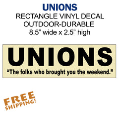 UNIONS Black on Beige - 1 piece - weekend - car home bumper window - Novelty