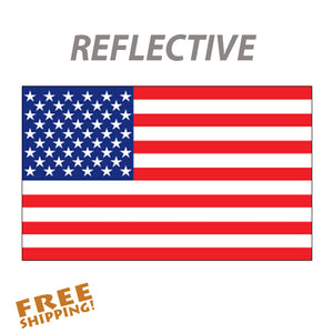 "U.S. FLAG 6"" OR 10"" Reflective Vinyl Sticker"