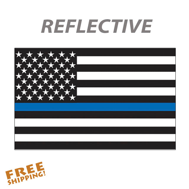 "THIN BLUE LINE FLAG 2"" or 5"" Reflective Vinyl Sticker"