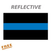 "THIN BLUE LINE STRIPE FLAG 6"" or 10"" Reflective Vinyl Sticker"