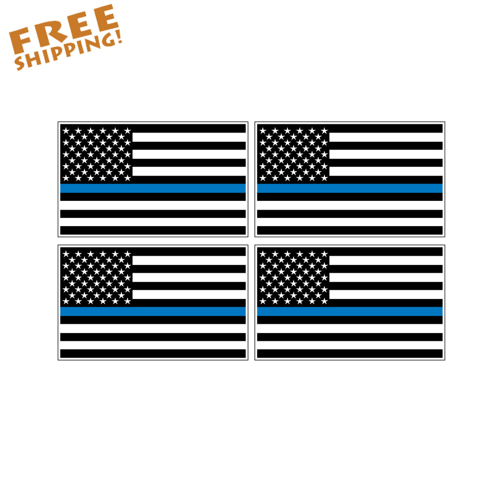 "THIN BLUE LINE FLAG 2"" - 4 Pack Vinyl Stickers"