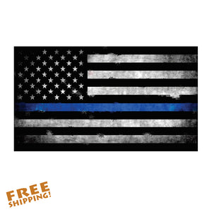 "THIN BLUE LINE WEATHERED FLAG 5"" Vinyl Sticker"