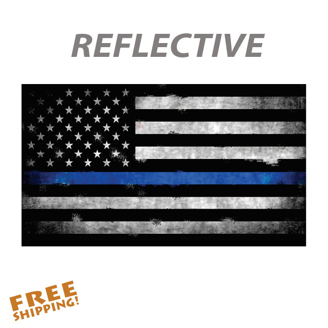 "THIN BLUE LINE WEATHERED FLAG 6"" or 10"" Reflective Vinyl Sticker"