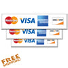 "CREDIT CARD LOGO 10"" or 14"" - 3 Pack Vinyl Stickers Business"