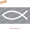 "Ichthus JESUS FISH 6"" Cut-out Vinyl Sticker White"