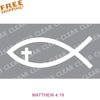 "Ichthus JESUS FISH w/Cross 6"" Cut-out Vinyl Sticker White"