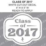 Class Of 2017 Graduation Cut-out White vinyl decal