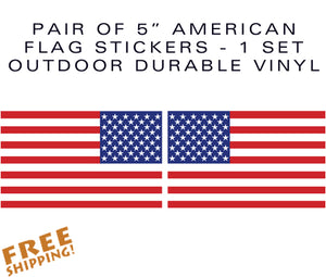 "U.S. FLAG 5"" Pair Vinyl Stickers"