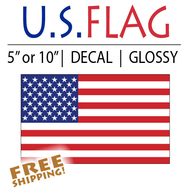 "U.S. FLAG 5"" or 10"" Vinyl Sticker"