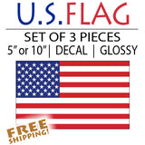 American Flag Sticker - Standard - 3 pieces