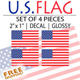 "U.S. Flag - 2"" American Flag Sticker Set of 4 - Small"