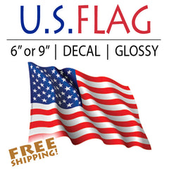 Waving American Flag Cut-out Sticker - Wavy