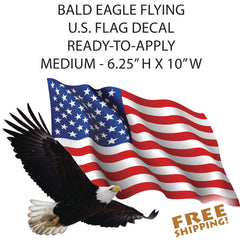 American Flag Bald Eagle Camper RV MEDIUM Cut-out sticker 10in WIDE sign