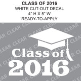 Class Of 2016 Cap Cut-out Lettering White vinyl decal