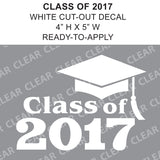 Class Of 2017 Cap Cut-out Lettering White vinyl decal