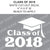 Class Of 2018 Cap Cut-out Lettering White vinyl decal
