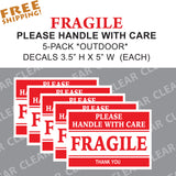 FRAGILE 5 pack Sticker set - Outdoor UPS FEDEX USPS - Business