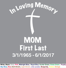 MOM in Loving Memory - Cut-out Lettering vinyl decal