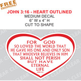 John 3:16 RED - 1 piece - JESUS BELIEVE - car home bumper window John 3-16 - Novelty