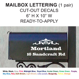 "MAILBOX NAME & ADDRESS 10"" Set Cut-out Vinyl Lettering"