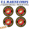 "MARINES USMC CIRCLE 2"" - 4 Pack Vinyl Sticker"