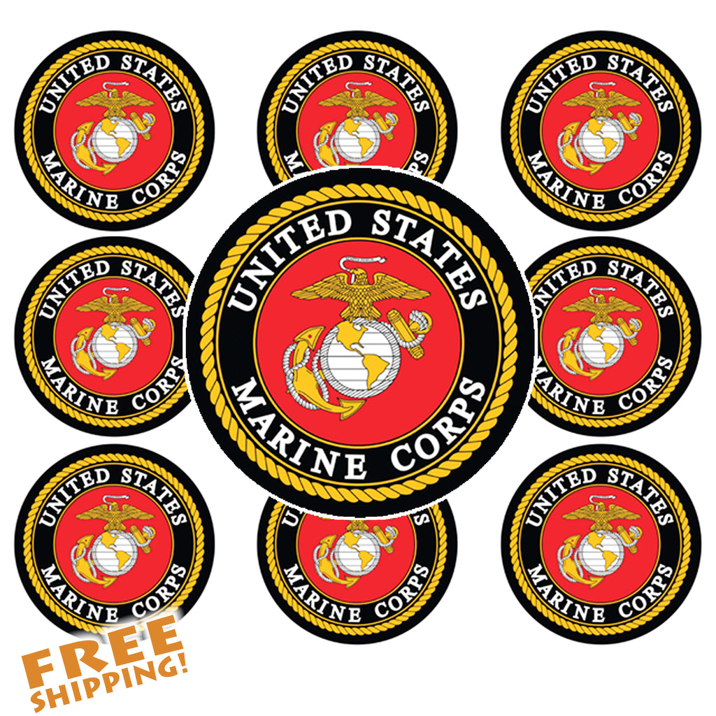 "MARINES USMC CIRCLE 1.5"" - 10 Pack Vinyl Sticker"